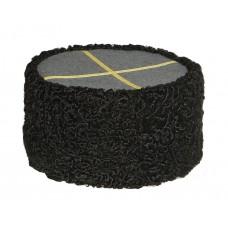 1107 Шапка кубанка из каракуля черная с серым верхом