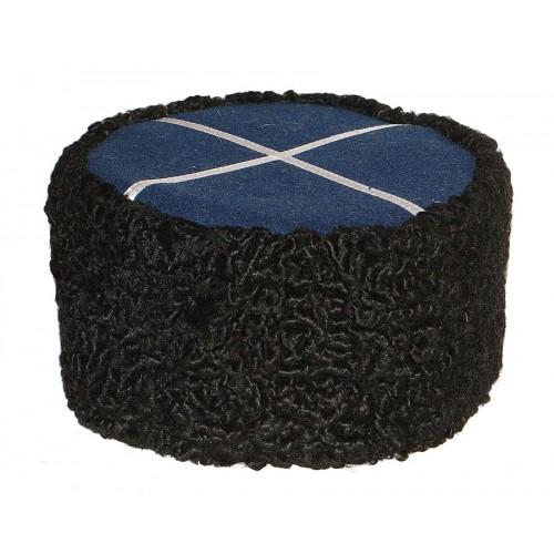 1108 Шапка кубанка из каракуля черная с синим верхом