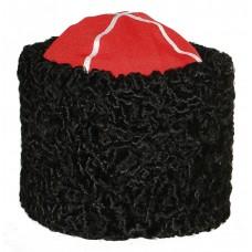 1105 Папаха казачья из каракуля черная с красным верхом