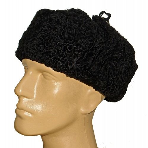 1025 Шапка ушанка из каракуля черная