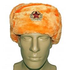"""1008 Шапка ушанка со звездой """"оранжевая"""""""